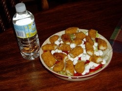 April 15, 2007 - Chicken Finger and Mini Marshmallow on a Salad .. MAN Was that delicious .. Mmmmm Marshmallows