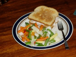 April 15th - Toasted turkey sandwich with frozen stir-fry vegetables