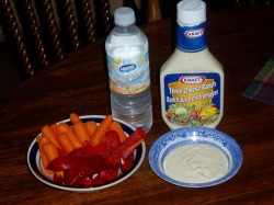 April 16th - snacking on Carrots and Red Peppers with Three-Cheese Dressing