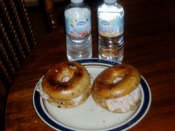 May 7-Turkey Sandwiches on Blueberry Bagels - Can you tell I like this?