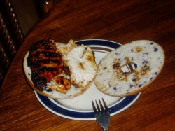 May 12-BBQ Chicken (sliced in half) on a Blueberry Bagel